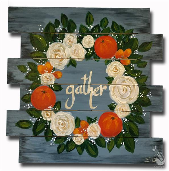 Citrus and Roses Wreath - Shiplap OR Canvas