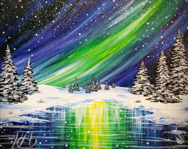 How to Paint Winter Northern Lights