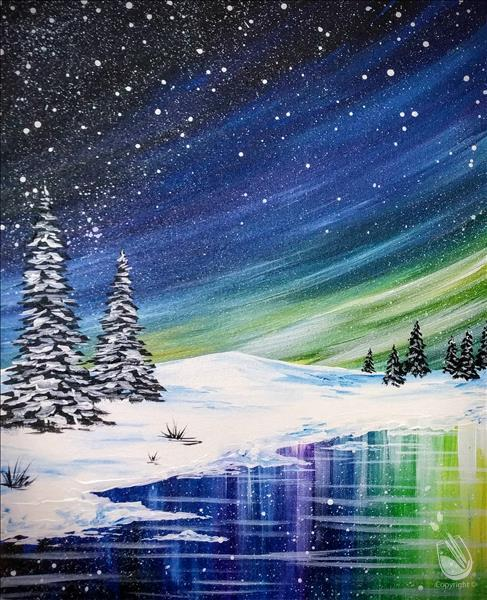 How to Paint COFFEE and CANVAS - Winter Northern Lights