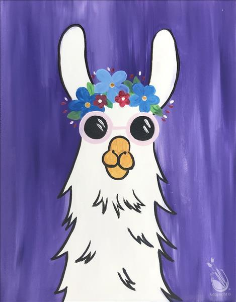 Hippie Party Llama- VIRTUAL FAMILY CLASS!!!