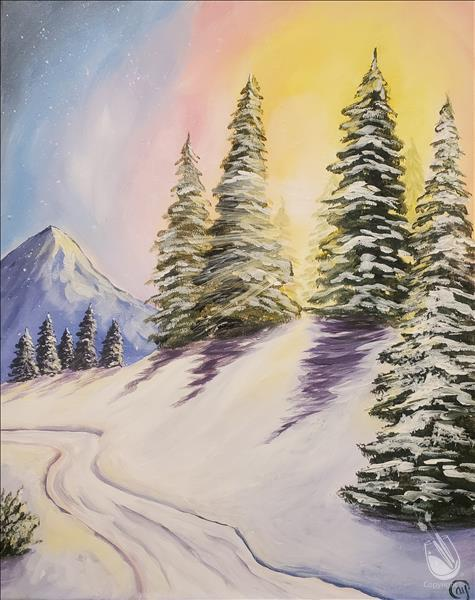 How to Paint Snowy Sunrise