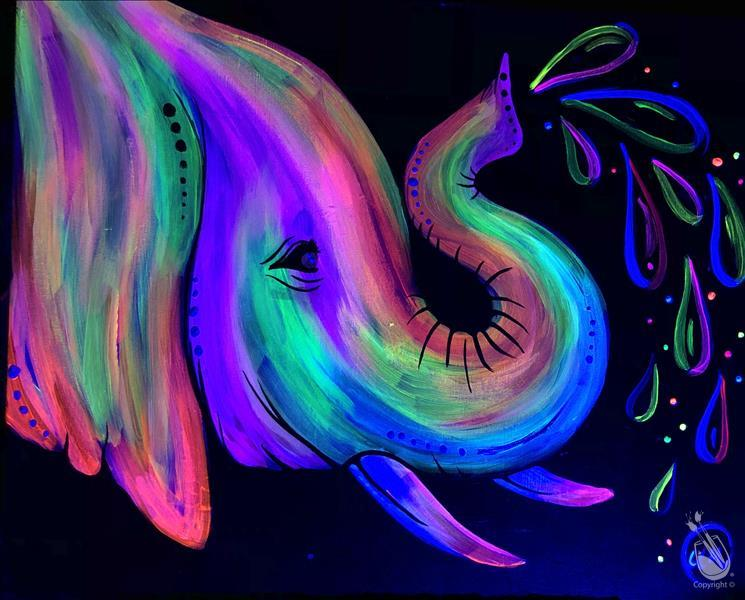 Neon Elephant Love BLACKLIGHT