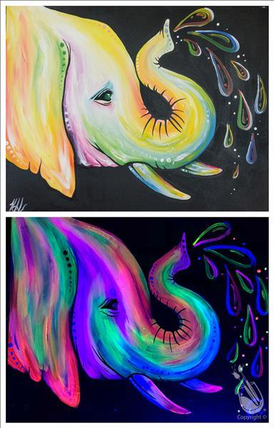 Neon Elephant Love in Black Light Room!