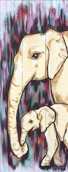 Elephant Mama and Baby on Canvas or Wood!