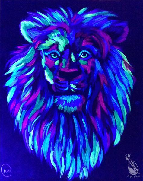 Colorful Lion - Blacklight In Studio Class!