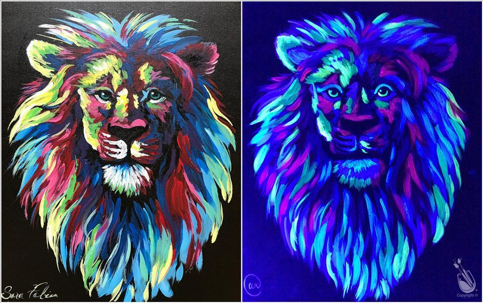 Blacklight Night - Colorful Lion