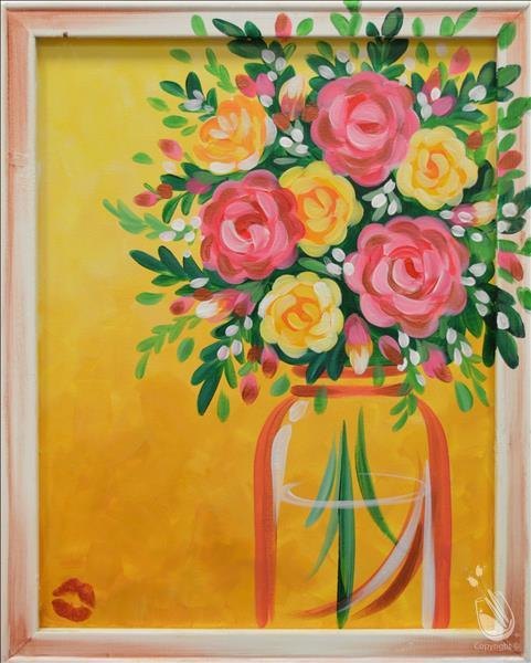 Golden Afternoon Bouquet Framed Canvas (In Studio)
