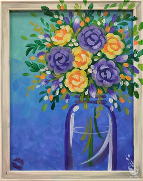 """Silver Twilight Bouquet"" Framed Canvas!"