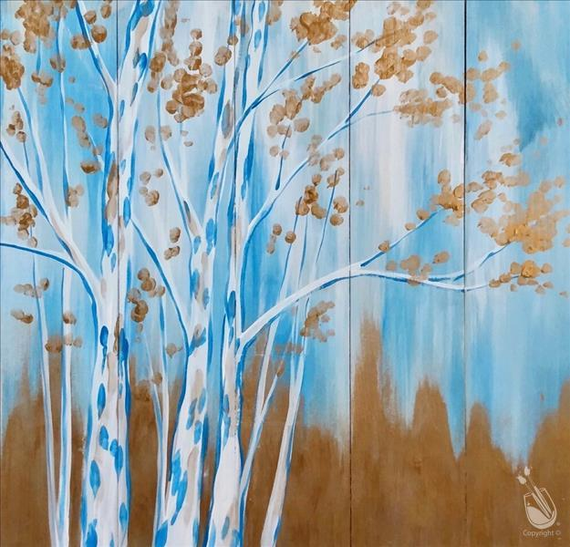 How to Paint Sunday Brunch - Wood! - Birches in Gold - Al Fresc