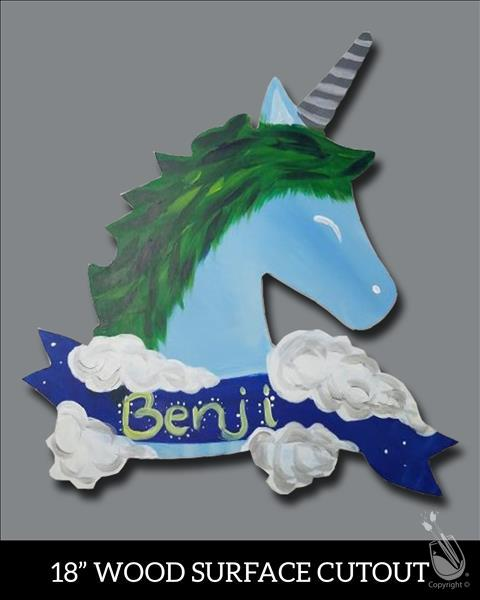 Unicorn Dreams in Blue Cutout