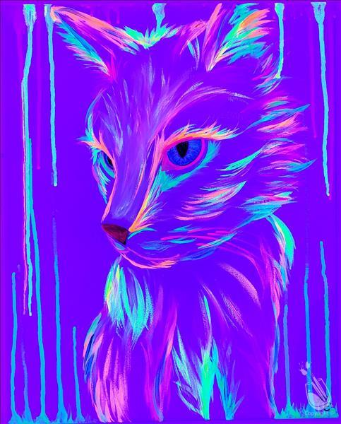 Neon Cat! BLACKLIGHT PARTY-In Studio Class.