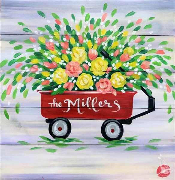 *ZOOM LIVE!* Bloomin' Wagon shown on wood board