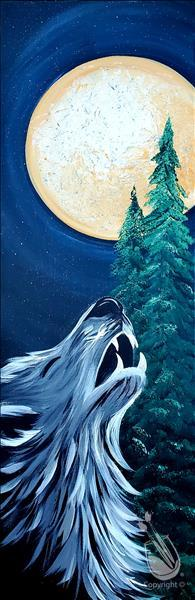 How to Paint howl at the Moon ! 10x30 Canvas