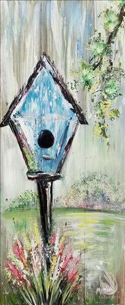 Rustic Garden Birdhouse Real Wood Board or Canvas