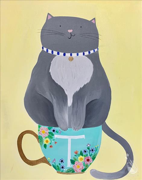 KIDS ART CAMP! - Cat in a Cup - ADD YOUR INITIAL!