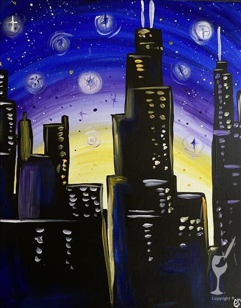 Evening Art Party-Night Sky in the Windy City