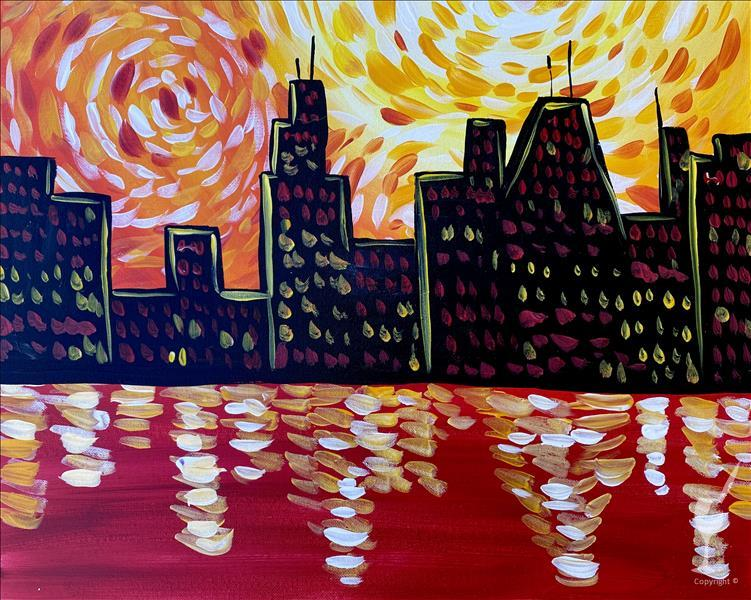 City in Red Painting Party