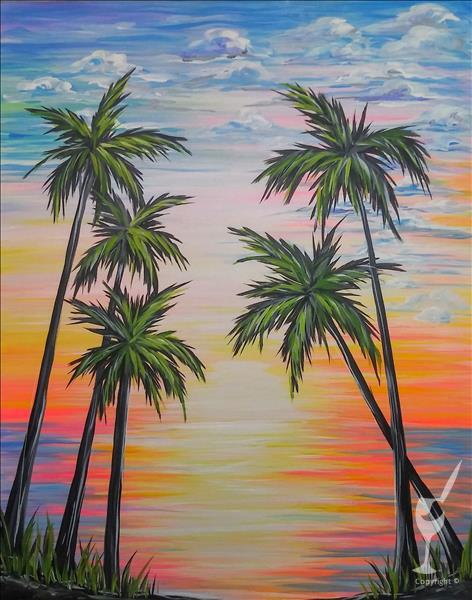 IN STUDIO ~ Fluorescent Palms Sunset
