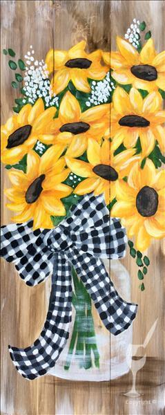 Buffalo Check Sunflowers Wood Board or Canvas