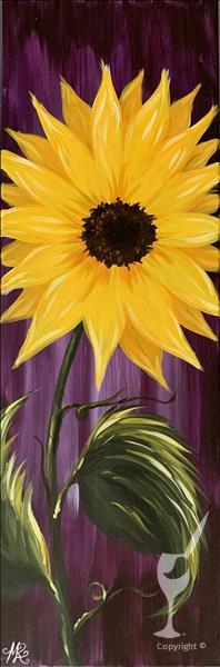 How to Paint Rustic Sunflower on Purple