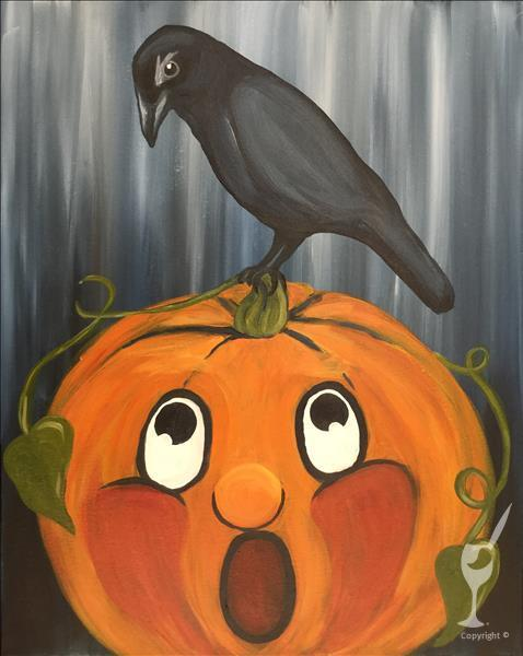 Vintage Halloween - Pumpkin and Crow