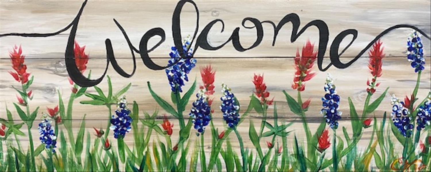 NEW! Texas Wildflower Welcome Real Wood Board