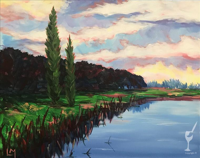 How to Paint Pond At Dusk VIRTUAL Painting Party