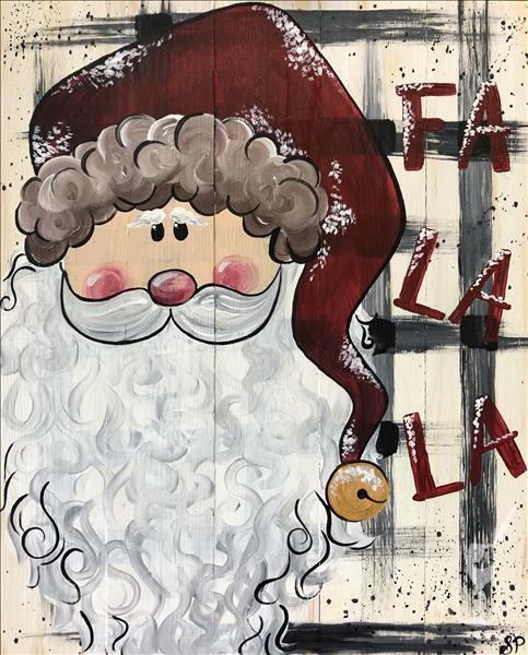 New Holiday Art. Rustic Santa on Wood or Canvas,