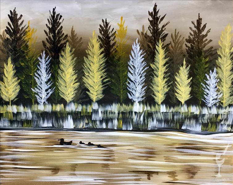How to Paint PUBLIC:  Tamarack Trees by the Water (18+)