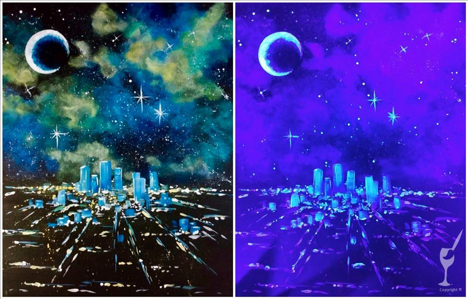 Cosmic Cityscape in Blacklight Room!