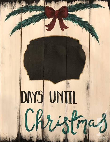 Holiday Countdown - Rustic Real Wood Board