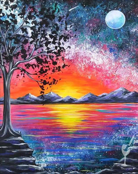 How to Paint IN STUDIO ~ Vibrant Sunset Galaxy
