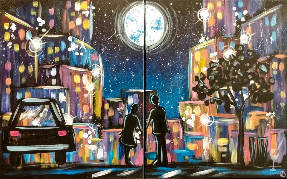 How to Paint Between the Moon & NYC - Couples or Singles!