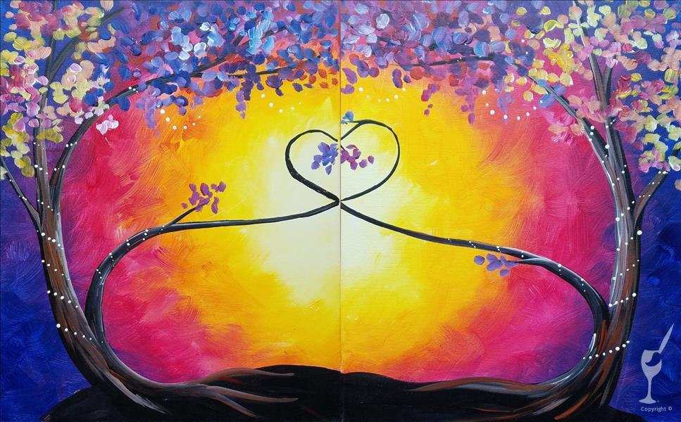 How to Paint Love Trees at Sunset!