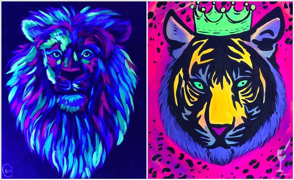Colorful Lion and Tiger Queen Blacklight Set