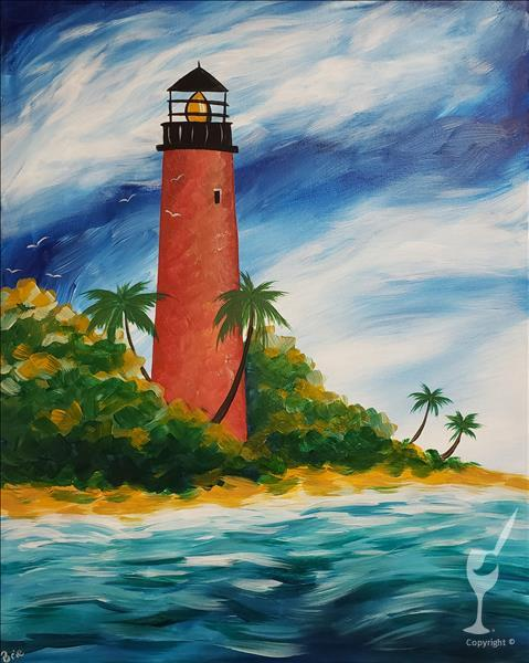 How to Paint LOCAL ART: Jupiter Lighthouse plus WINE tasting