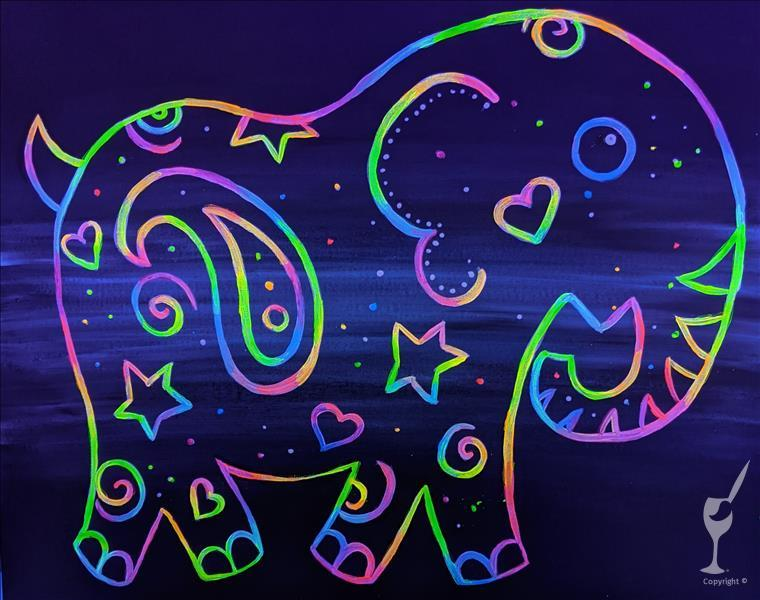 Neon Paisley Elephant - Black Light In Studio!