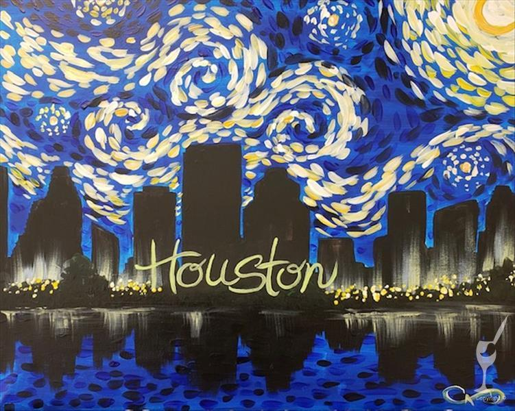 NEW! Houston Skyline Under A Starry Night