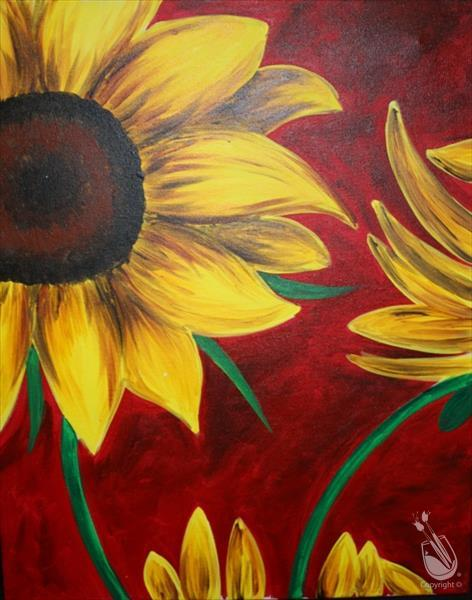 Sunflower On Red-In Person Class