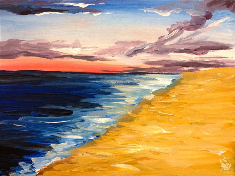 How to Paint COFFEE AND CANVAS: Sunset at the Beach