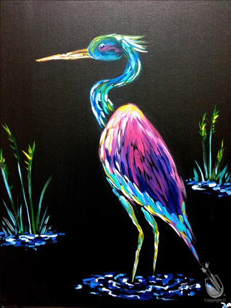 Fluorescent Friday - Blacklight Neon Heron