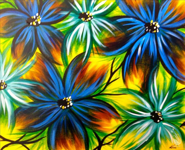 Pressed Flowers in Blue  **PAINT 1 - TAKE 1**