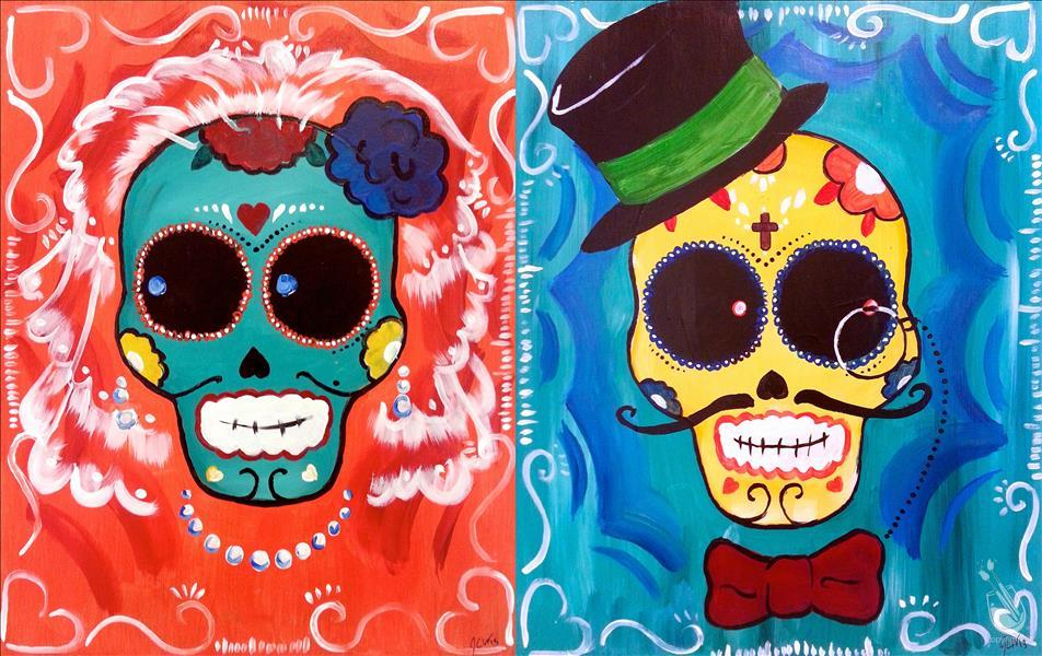 How to Paint DATE NIGHT- Bride and Groom Sugar Skulls