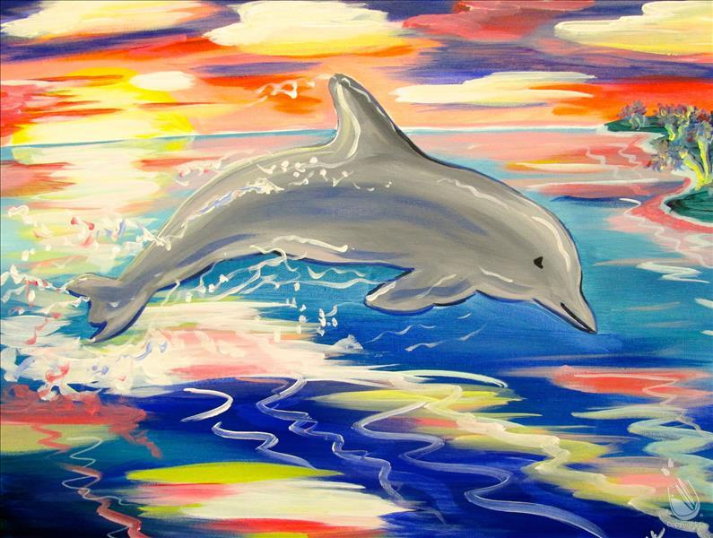 How to Paint Sunset Leaping Dolphin