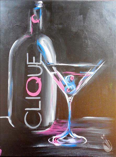 How to Paint Clique Martini Painting + tasting!