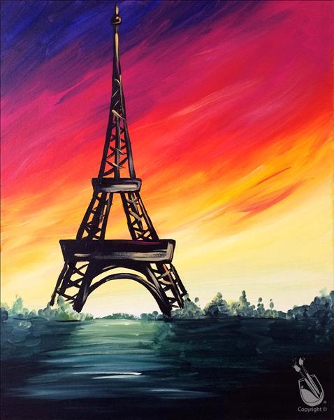 How to Paint Sunset Over The Eiffel