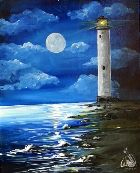 Moonlit Lighthouse Colored
