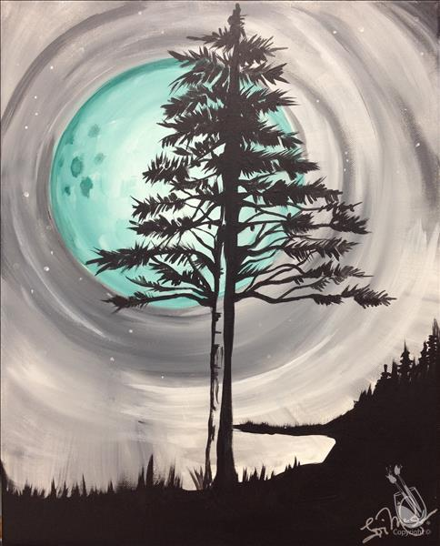 How to Paint Night in the Pines - 1st DRINK FREE