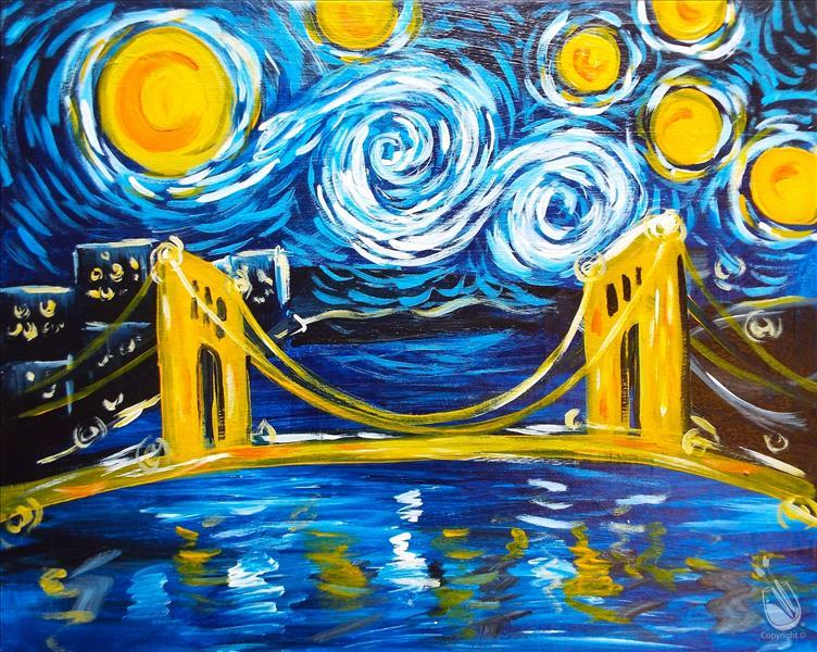 How to Paint Classic- Starry Night Over Clemente Bridge (Public