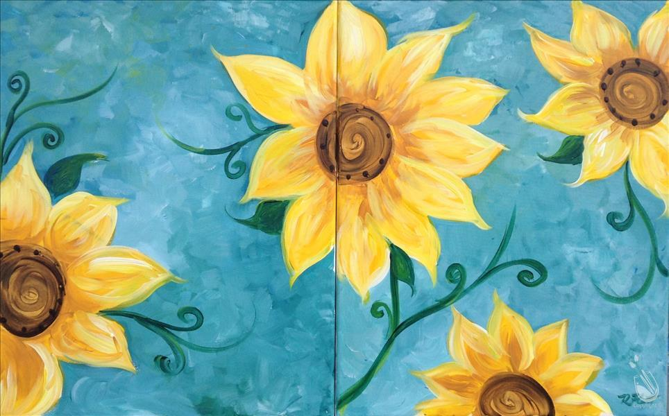 Sunflowers on Teal - Set